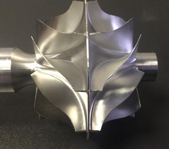 Turbine alu pales incurvées - usinage 5 axes simultané